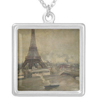 The Construction of the Eiffel Tower Silver Plated Necklace
