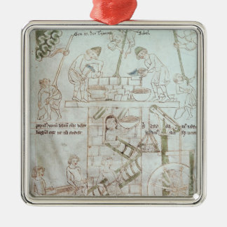 The Construction of the Tower of Babel Square Metal Christmas Ornament
