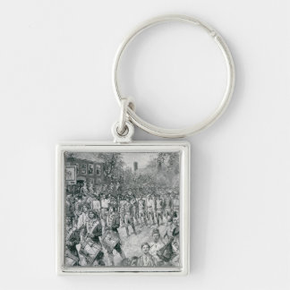 The Continental Army Marching Down the Old Silver-Colored Square Keychain