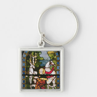 The Conversion of St. Eustace Silver-Colored Square Keychain