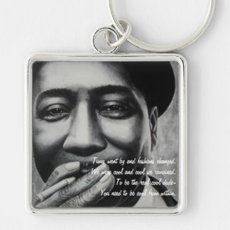 The Cool Dude Silver-Colored Square Keychain
