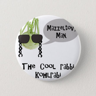 The cool rabbi kohlrabi - bad vegetable pun pinback button