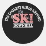 The Coolest Girls Around Ski Downhill Classic Round Sticker