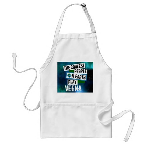 The Coolest People on Earth Play Veena Blue Green Nebula Adult Apron