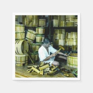 The Cooper Making Barrels in Old Japan Vintage Napkin