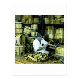 The Cooper Making Barrels in Old Japan Vintage Postcard