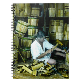The Cooper Making Barrels in Old Japan Vintage Spiral Notebook