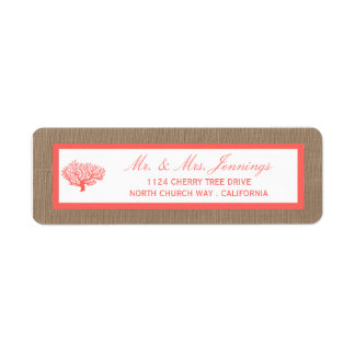The Coral On Burlap Boho Beach Wedding Collection Label