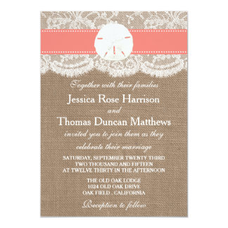 The Coral Sand Dollar Beach Wedding Collection 5x7 Paper Invitation Card