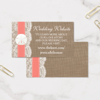 The Coral Sand Dollar Beach Wedding Collection Business Card