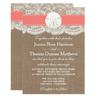 The Coral Sand Dollar Beach Wedding Collection Card at Zazzle