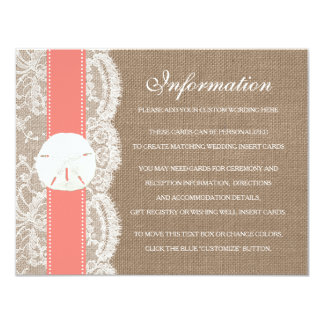 The Coral Sand Dollar Beach Wedding Collection 4.25x5.5 Paper Invitation Card