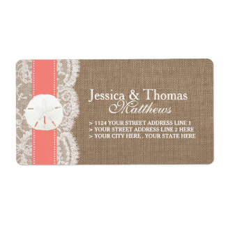 The Coral Sand Dollar Beach Wedding Collection Label