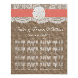The Coral Sand Dollar Beach Wedding Collection Posters