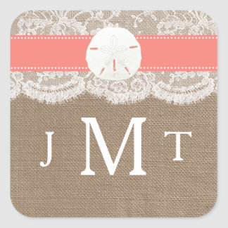 The Coral Sand Dollar Beach Wedding Collection Square Sticker
