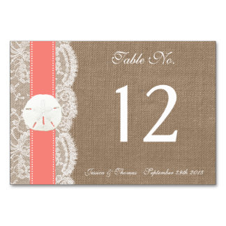 The Coral Sand Dollar Beach Wedding Collection Table Cards