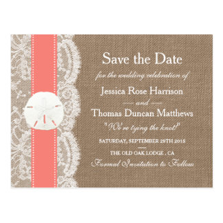 The Coral Sand Dollar Collection Save The Date Postcard