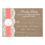 The Coral Sand Dollar Wedding Collection RSVP 3.5x5 Paper Invitation Card