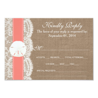 The Coral Sand Dollar Wedding Collection Rsvp Card at Zazzle