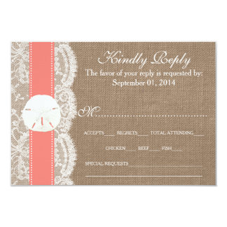 """The Coral Sand Dollar Wedding Collection RSVP 3.5"""" X 5"""" Invitation Card"""