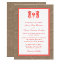 The Coral Seahorse Burlap Beach Wedding Collection Invitation