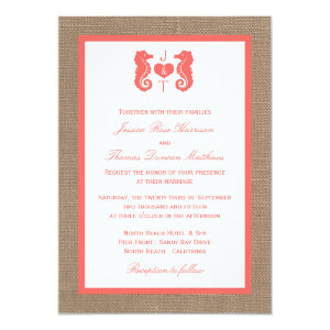 The Coral Seahorse Burlap Beach Wedding Collection 5x7 Paper Invitation Card