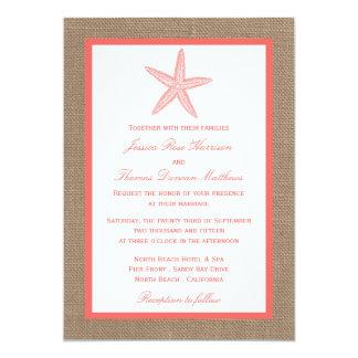 The Coral Starfish Burlap Beach Wedding Collection 5x7 Paper Invitation Card
