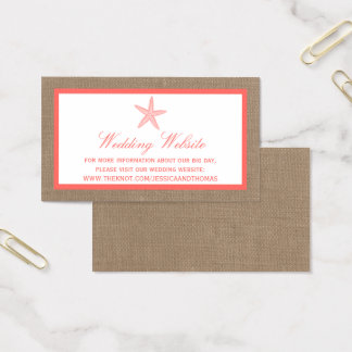 The Coral Starfish Burlap Beach Wedding Collection Business Card