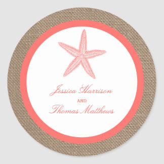 The Coral Starfish Burlap Beach Wedding Collection Classic Round Sticker