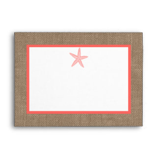The Coral Starfish Burlap Beach Wedding Collection Envelope