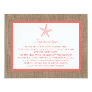 The Coral Starfish Burlap Beach Wedding Collection 4.25x5.5 Paper Invitation Card