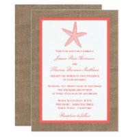 The Coral Starfish Burlap Beach Wedding Collection Invitation