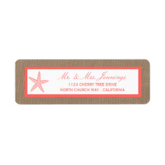 The Coral Starfish Burlap Beach Wedding Collection Label