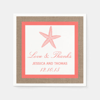 The Coral Starfish Burlap Beach Wedding Collection Paper Napkin