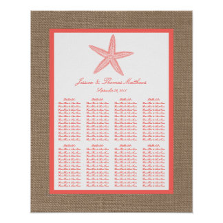 The Coral Starfish Burlap Beach Wedding Collection Poster