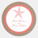 The Coral Starfish Burlap Beach Wedding Collection Classic Round Sticker