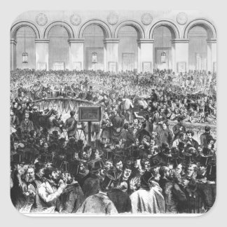 The 'Corbeille' at the Bourse of Paris, 1873 Square Sticker