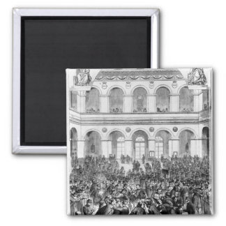 The 'Corbeille' at the Paris Bourse, 1873 2 Inch Square Magnet