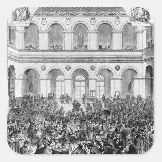 The 'Corbeille' at the Paris Bourse, 1873 Square Sticker