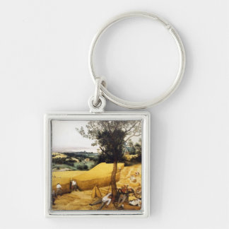 The Corn Harvest - 1565 Silver-Colored Square Keychain