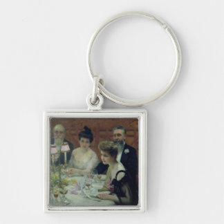 The Corner of the Table, 1904 Silver-Colored Square Keychain