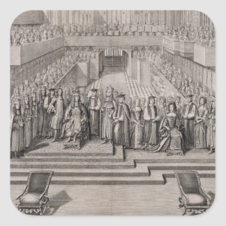 The Coronation of King James II (1633-1701) and hi Square Sticker