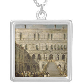 The Coronation of the Doge of Venice Silver Plated Necklace