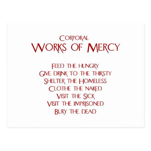 The Corporal Works of Mercy Postcard