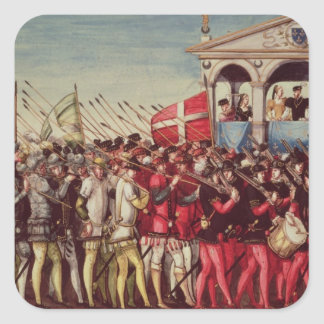 The Cortege of Drummers and Soldiers Square Sticker