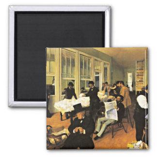 The Cotton Exchange - Edgar Degas artwork 2 Inch Square Magnet