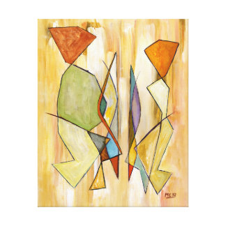The Couple Beige Abstract Contemporary Art Gallery Wrapped Canvas