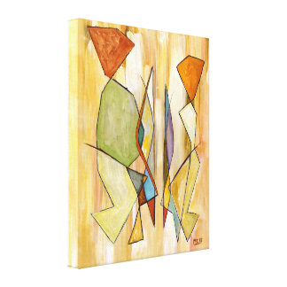 The Couple Beige Abstract Contemporary Art Canvas Print