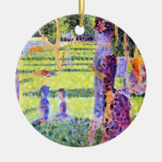 The Couple by Georges Seurat, Vintage Pointillism Ceramic Ornament