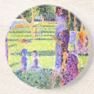 The Couple by Georges Seurat, Vintage Pointillism Sandstone Coaster